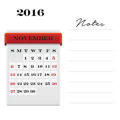 November Calendar with notes