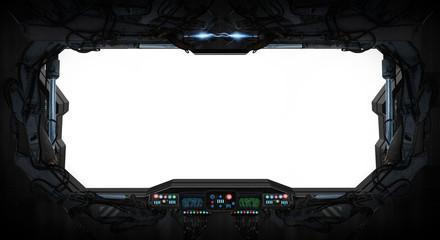 Fototapete - Space ship window interior