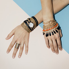 Black Jewelry fashion. Bracelets, watches and rings. Be stylish