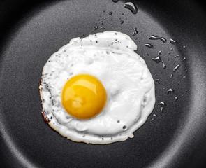 Fond de hotte en verre imprimé Ouf Fried egg in a frying pan