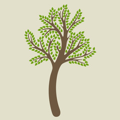 Tree on a beige background in vector