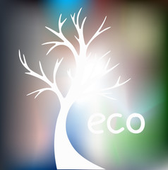 Silhouette of a tree on a blurred background. Eco poster