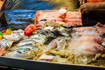 Fresh seafood on ice for sell