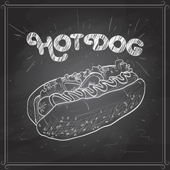 hot dog scetch on a black board