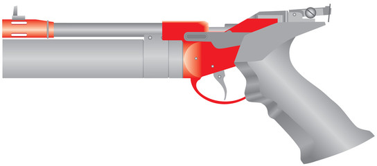 Air pistol. Pneumatic pistol. Traumatic air gun for self-defense or sport. Modern air gun on white background