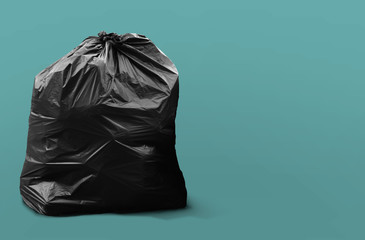 Garbage Bag Isolated / Garbage Bag Isolated on Green Blue Background Wall mural