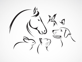 Vector group of pets - Horse, dog, cat, bird, butterfly, rabbit