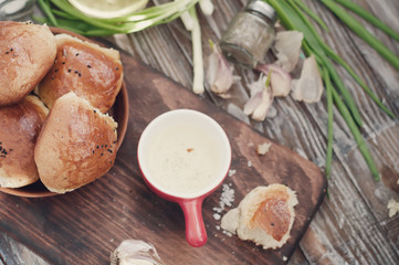 Fresh homemade bread rolls . Toned photo