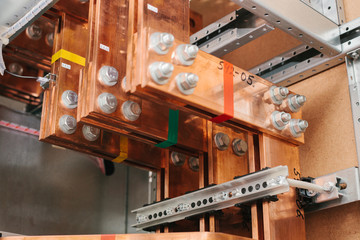Copper busbar. Uninterrupted power. Electrical power.