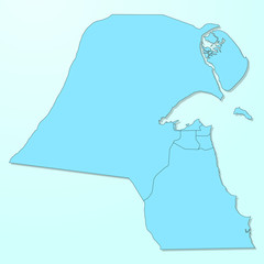 Kuwait blue map on degraded background vector