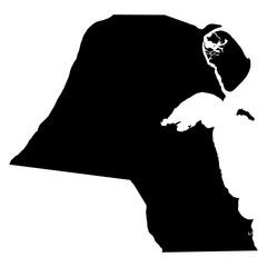 Kuwait black map on white background vector