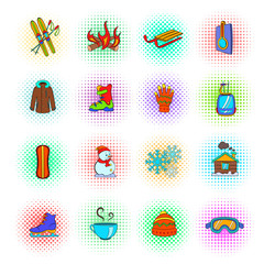 Winter icons set, pop-art style