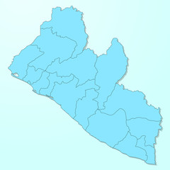 Liberia blue map on degraded background vector