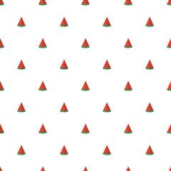 Cute flat design watermelon slices seamless pattern background.