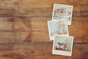 instant polaroid photos album on wooden background