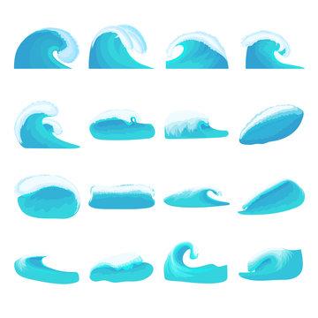 Sea waves icons set, cartoon style