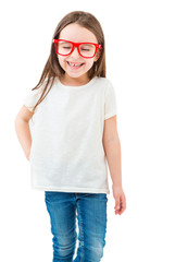 Laughing happy milk teeth kid girl . Fashionable stylish beauty with long hair. Casual white tshirt no print. Empty space for your logo or image. Template for branding. White background