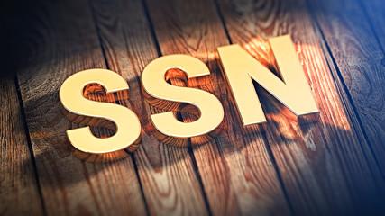 Acronym SSN on wood planks