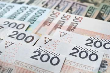 Polish zloty, euro and dollar background
