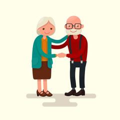 Grandma and Grandpa together holding hands. Vector illustration