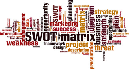 SWOT matrix word cloud concept. Vector illustration