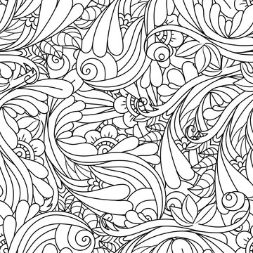 Seamless black and white pattern in a zentangle style