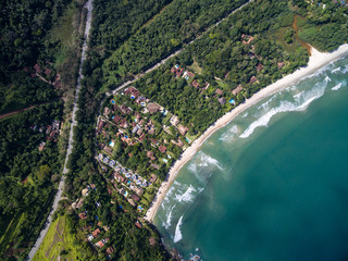 Top View of a Paradise Beach in a Coastline