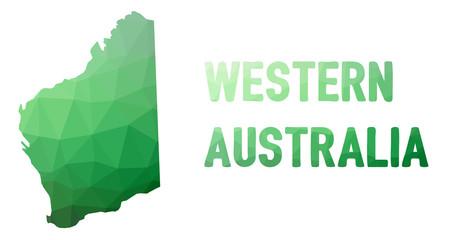 Green polygonal mosaic map of Western Australia, WA - political part of Australia