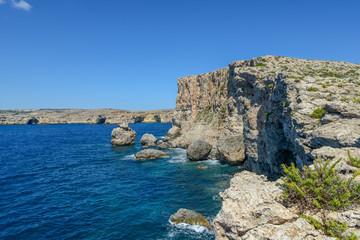 Rocky cliffs of Gozo near Malta