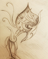 allien figure  ornamental drawing on old paper.