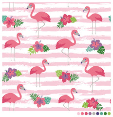 Flamingo seamless vector pattern with hibiscus on brush striped background.