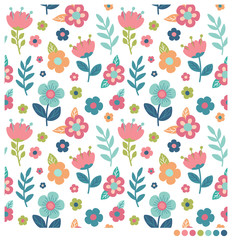 Cute floral seamless vector pattern