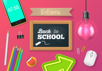 Chalkboard and objects realistic vector illustration. Back to school