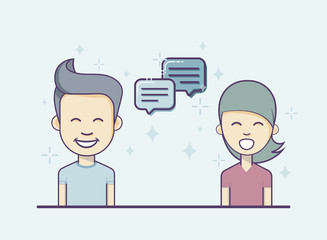 Chatting. Boy And Girl With Dialog Chat Symbols.
