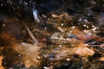 abstract painting with blurry and stained structure.