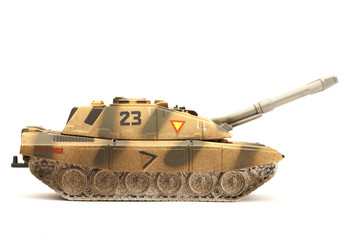 toy tank isolated on a white background