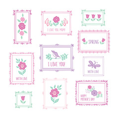 Set of hand drawn colored decorative elements for Mother's Day, Valentine's Day, birthday, wedding, easter. Vintage frames and spring flowers. Doodles, sketch for your design. Vector.