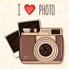 Background with retro photo camera and pictures