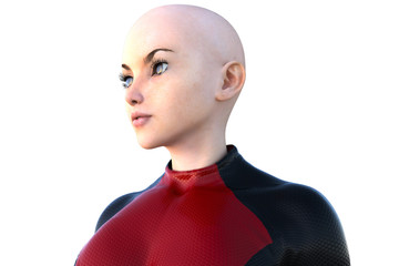 face of one young bald girl in a super suit. White skin. Left side of the face