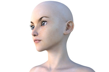 face of a young bald girl. White skin. The left side of the face