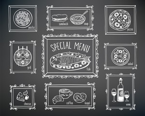 Set of elements for restaurant menu, cafe, pizzeria. Festive menu. Hand drawn food elements and frames with chalk on the black chalkboard. Doodles, sketch for your design.