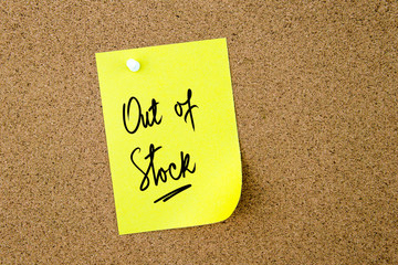 Out Of Stock written on yellow paper note