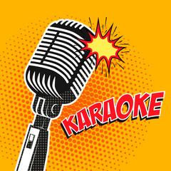 Karaoke poster in pop art style. Design element in vector.