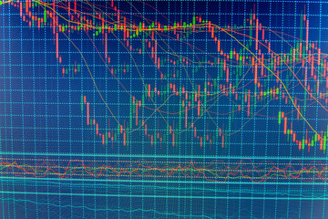 Stock analyzing. Data on live computer screen. Macro close-up. Stock market quotes on display. Candle stick graph chart of stock market investment trading. Share price quotes.