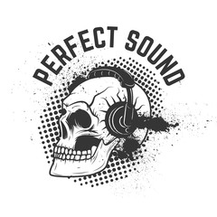 Perfect sound. Skull with headphones on grunge background.  Desi