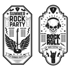 Rock and roll concert flyer templates. Summer rock and roll part
