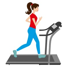 Young woman runs on a treadmill. Sports trainer. Young Girl run treadmill vector illustration