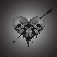 Skulls heart with arrow illustration