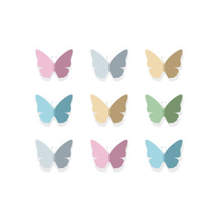 Vector Illustration of a Background with Pastel Colored Paper Butterflies