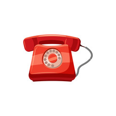 Red retro phone icon, cartoon style